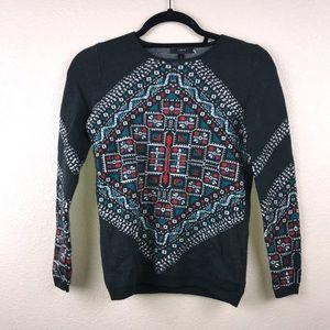 J.CREW X-Small XS Merino Knotted Scarf Sweater